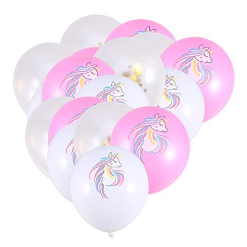 Amosfun 15 Piezas Globos de látex Unicornio Globos de Confeti Rosa para Baby Shower Decoraciones de Fiesta de cumpleaños Suministros de Fiesta temática de Unicornio