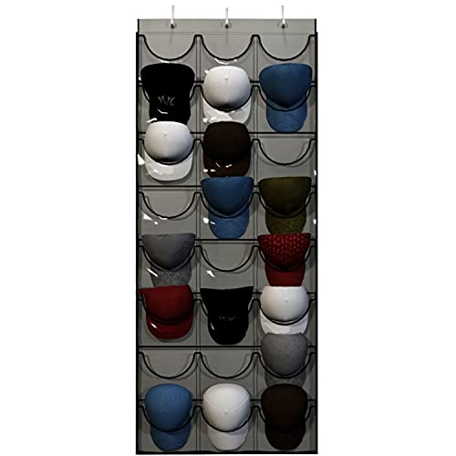 Baseball Hat Rack from Unjumbly, 24 Pocket Over-The-Door Cap...