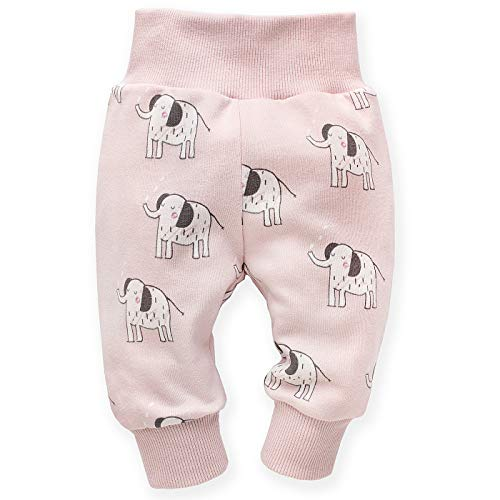 Pinokio - Wild Animal - babybroek leggings meisjes & jongens - unisex - grijs en roze - joggingbroek, pumpbroek slipbroek, elastische tailleband maat 62, 68, 74, 80, 86