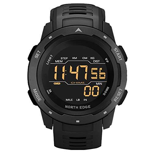Reloj deportivo electrónico Reloj de pulsera multifunción de supervivencia para exteriores con podómetro / Contador de calorías / Cronómetro 50M Reloj militar impermeable para correr Nadar (Black)