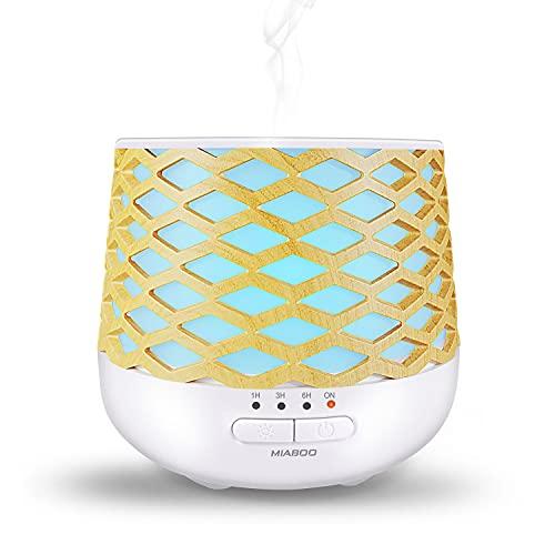 MIABOO Diffuseur d'Huiles Essentielles, 130ml Ultrasonique Humidificateur Diffuseur Aromathérapie avec 7 Lumière LED à Couleurs Variables und Anhydre Arrêt Automatique pour la Maison, Yoga, Bureau