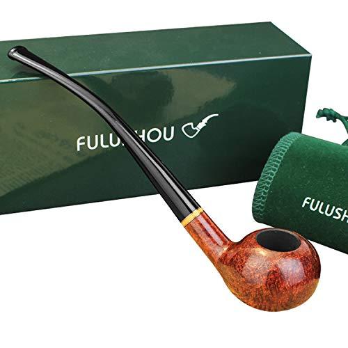 FULUSHOU Mediterranean Briar Wood Tobacco Pipe, Atmospheric Reading Pipe