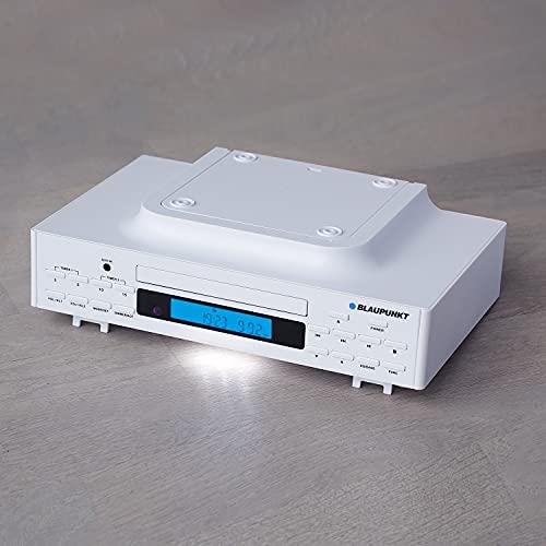 Blaupunkt Küchenradio KRC 40 WH, PLL-UKW-Radio, Bluetooth, Aux-In, CD-Wiedergabe, Hintergrundbeleuchtetes LC-Display, Integriertes LED-Licht zur Ausleuchtung der Arbeitsfläche,2 Kurzzeitwecker, weiss
