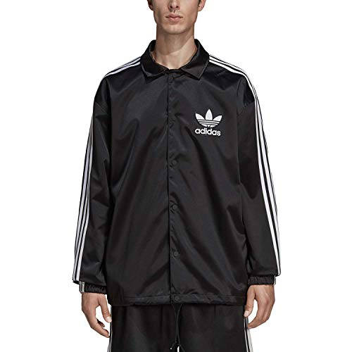 adidas Satin Coach Cortavientos, Hombre, Negro/Blanco, L