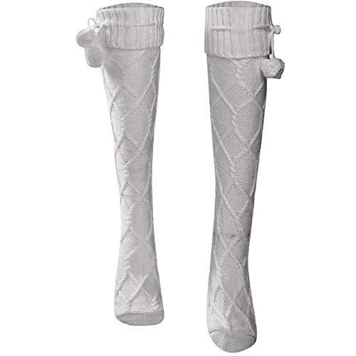 CENPEN Calcetines largos de invierno para mujer, de moda, para invierno, para mujer, con botas altas, sexy, de punto, cálidas, para mujer, de moda, calcetines altos, delgados, U0C9 (color: gris)
