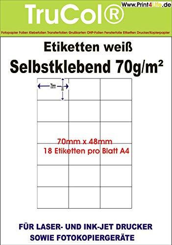 Zelfklevende witte etiketten 70x48 op het formaat DIN A4 25, 100, 1000 vel DIN A4, 70g/m2 Geschikt voor inkjetprinter-, laserprinter en kopieerapparaten. 1000 Blatt / 18000 Etiketten