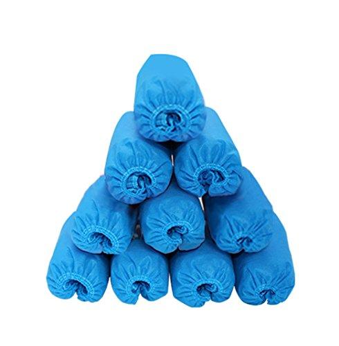 CHRISLZ Einweg-Überschuhe, rutschfest, robust, Einwegprodukt, nicht gewebter Stoff, 100 Stück, Blau - blau - Größe: 36 EU