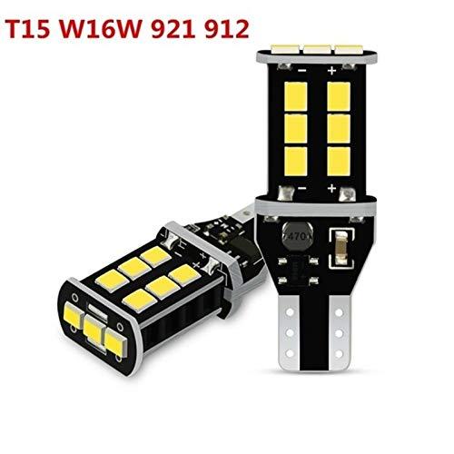 GSDGBDFE 2X W16W T15 Bulbos 2835 SMD CANBUS OBC Error Copia de Seguridad Gratuita 921 912 W16W Bulbs Car Lamp Xenon White DC12V (Color Temperature : 6000K White, Emitting Color : T15 W16W White)