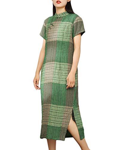 LZJN - Abito estivo da donna, a maniche corte, in lino, modello Qipao, slim fit, a quadri cinesi - verde - M