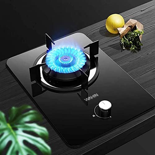 Nueva cocina con encimera de gas Estufa de gas incorporada |Cocina de mesa |4.5KW |Superficie de la placa de cristal negro |Aros de cobre para placa de cocción portátiles - Fácil de limpiar [Clas