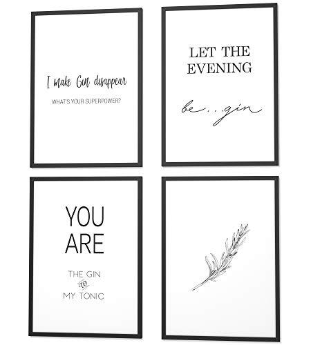 Papierschmiede® Spruch-Poster 4er-Set in DIN A4 | Motiv: Gin (English) | Typografie für Zuhause als Kunstdruck ohne Rahmen