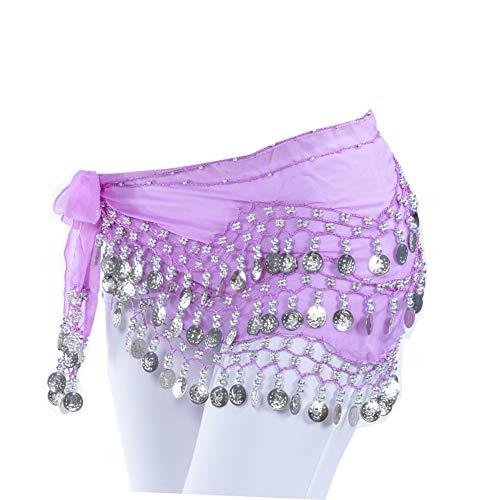 Uherebuy Chiffon Dangling Gold Coins Belly Dance Hip Skirt Scarf Belt