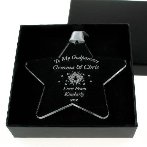 Engraved My Godparents Acrylic Star Personalised Godparents Keepsake Gift Idea Amazon Co Uk Kitchen Home