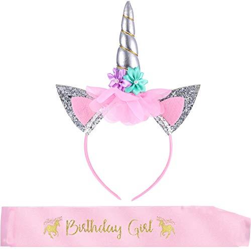 BOSSTER Unicornio Diadema Plata Diadema Cumpleaños Unicornio Banda de Pelo de Unicornio con Birthday Girl Faja para Niños Adultos Traje de Cosplay Decoración del Partido