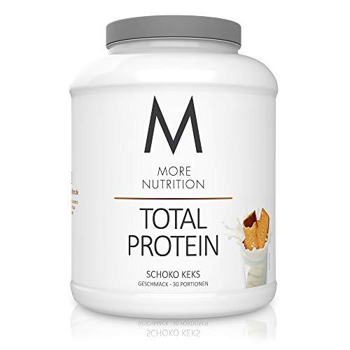 MORE NUTRITION Total Protein Eiweiß-Pulver mit Whey und Casein – 600g Schoko Keks (+ weitere Sorten) - Mit Aminosäuren und Laktase – Anti-Heißhunger, Gewichtsmanagement und Muskelaufbau