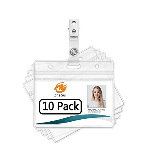 Horizontal Heavy Duty Name Tags Badge Holders and Metal Badge Clips with Vinyl Straps by ZHEGUI (10 Pack, Horizontal 2.3X3.5)