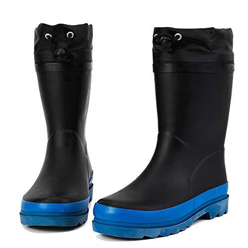ALEADER Kids Waterproof Rubber Rain Boots for Girls, Boys & Toddlers with Fun Prints & Handles Black/Blue 6 M US Big Kid