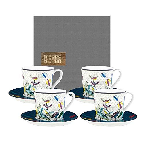 IMAGES D'ORIENT Birds of Paradise 4-er Kaffee-Tassen-Set bunt mit Untertassen, Ø 8 cm, 7.5 cm hoch, 210 ml, Porzellan, orientalisches Design, inkl. Geschenk-Box