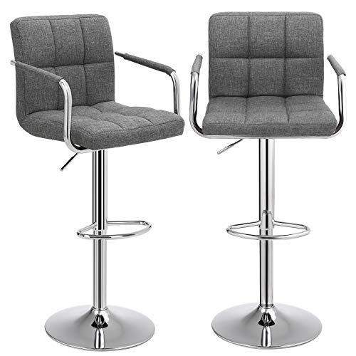 SONGMICS Barhocker 2er Set, höhenverstellbare Barstühle, Barstuhl mit Leinen-Bezug, 360° Drehstuhl, Küchenstühle mit Rückenlehne, Armlehnen und Fußstütze, verchromter Stahl, dunkelgrau, LJB13GYZ