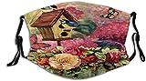 Balaclavas Mundschutz Fabulous Flowers Dekorative Vögel Schmetterling Frühling Unisex waschbar und wiederverwendbar Baumwolle Warm Gesichtsschutz für den Außenbereich
