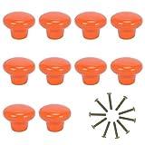 KAILEE 10pcs Pomos Armarios Cocina, Pomos Redondos Cerámica de Naranja Pomos y Tiradores de Muebles para Cajones Cómodas Habitación del Niño Infantiles Dormitorio Baño con Tornillos