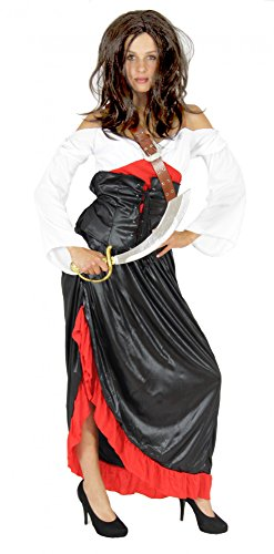 Foxxeo Wilde Piratenbraut Sexy Piraten Kostüm für Damen Fasching Piratin Kleid Karneval Größe XXL