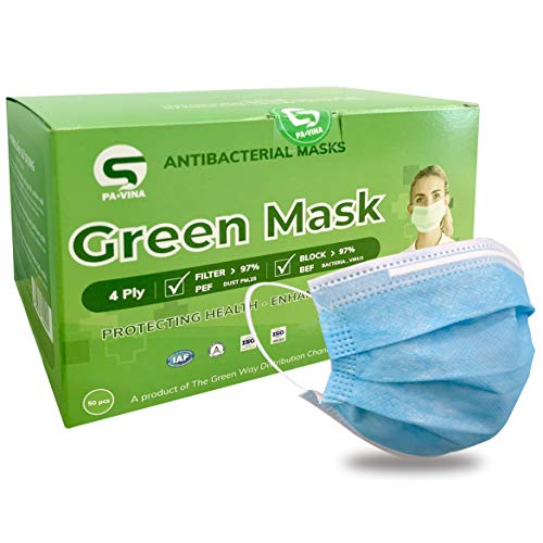50 Pcs Medical Mask   Disposable Mask With Filter 4 Layer - Blue Fit For Men And Women