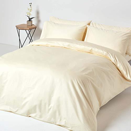 Homescapes 3-teiliges Bettwäsche-Set – 100% Baumwolle, Fadendichte 1000, Perkal-Bettwäsche – Bettbezug 260 x 220 cm mit 2 Kissenbezügen 48 x 74 cm, Creme/vanille