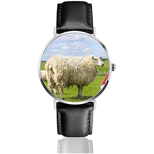 Warnzeichen Wolf in Deutschland Frauen männer Dame Teen mädchen pu Leder Band Uhren armbanduhren schwarz