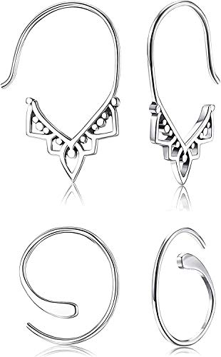 LQXZJ 2Pairs 925 pendientes de plata del aro tribal vendimia ligero tirón linda través del remolino de Boho de los pendientes fijados for la Mujer (Color : 2Pairs)