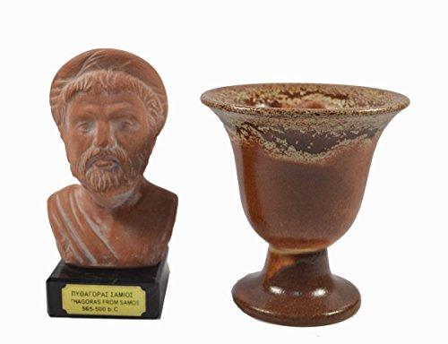 Estia Creations Pythagoras Skulptur aus Keramik auf Marmor Plus Pythagoras Cup of Justice Fair Tasse
