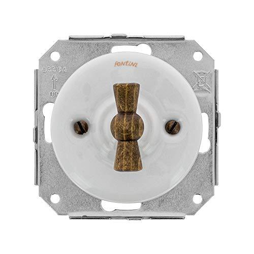 FONTINI – Garby Colonial – Doble Va & Vent Porcelana blanca con mandos de madera de haya ref. 31302213