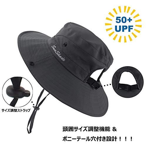 日よけ帽子レディースアウトドアUVカット通気性ポニーテールアウトドア帽子サファリハット作業用自転車用帽子つば広レディースキャップバケットハット登山小顔効果帽子折りたたみ可2way仕様グレー