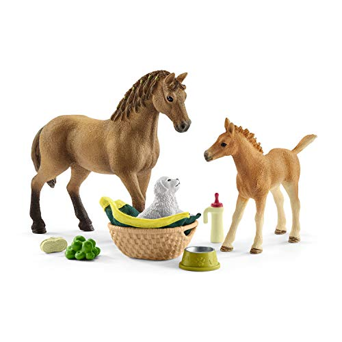 SCHLEICH- Horse Club Sarah Che Cura i Cuccioli, 42432