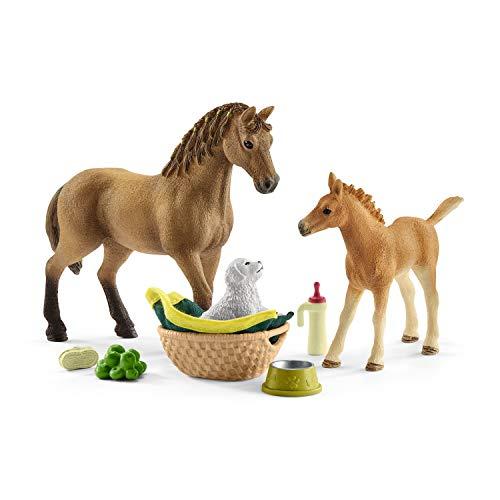 Schleich 42432 Horse Club Spielset - Horse Club Sarahs Tierbaby-Pflege, Spielzeug ab 5 Jahren