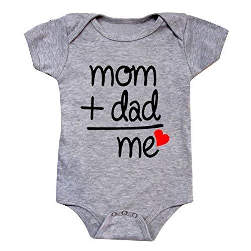 puseky Mono de manga corta para bebé recién nacido, niña, mamá, papá, mí, mameluco