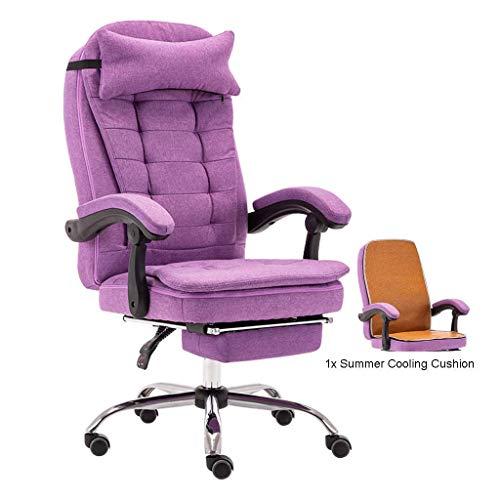 Jieer-C Ergonomische stoel, bureaustoel, bureaustoel, kantelbaar, bureaucomputer, draaibare zitting verstelbaar, linnen hoge rugleuning van textiel, hoofdsteun