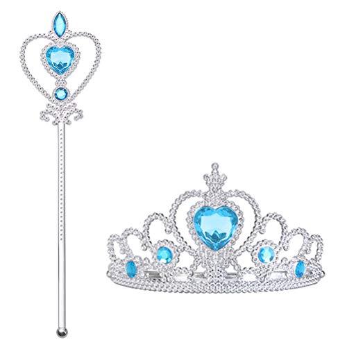 Vicloon Elsa 2 Pièces Cadeau Set,Princesse Inclus Couronne avec Baguette Magique - Dress Up Accessoires de Filles pour Carnaval