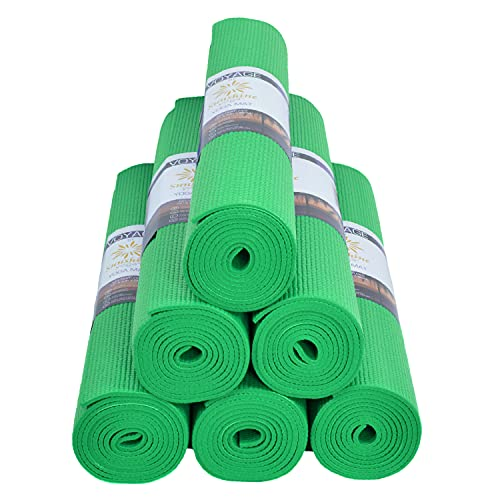 """Sunshine Yoga Voyage Yoga Mats - Bulk 6 Pack - (72"""" x 24"""" x 5mm) - Easy to Clean - Tear Resistant- Thick (Green)"""