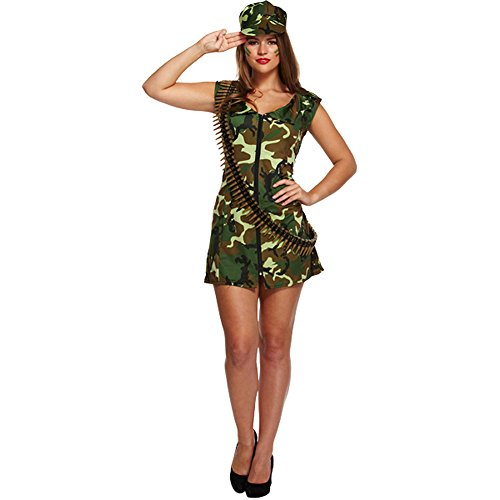 Costume Déguisement Femme Sexy Army Girl - Robe Courte Camouflage Zippée