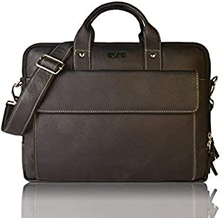 Leaderachi Leather 22Litres 15 Inch Black Briefcase Bag