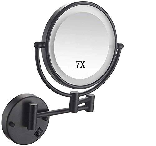 HGXC Espejo de Maquillaje montado en la Pared con Aumento 7X, Espejo de baño, Espejo de Maquillaje de Doble Cara, rotación de 360 Grados, Recargable por USB