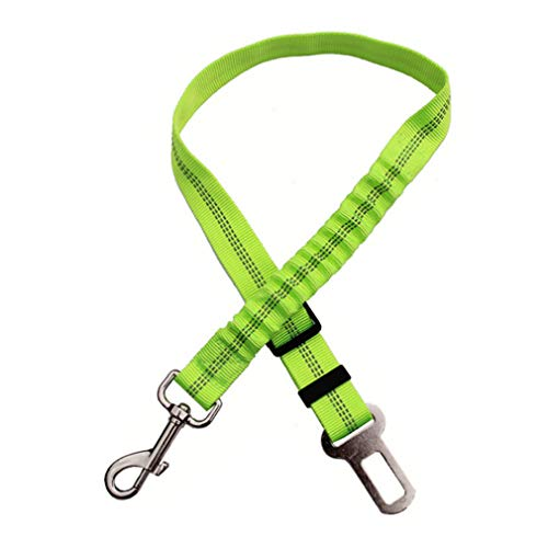 Green Adjustable Dog Seat Belt Pet Lead Leash Harness Reflective Car Vehicle Safety Seat Belt with Elastic Bungee Buffer by SamGreatWorld