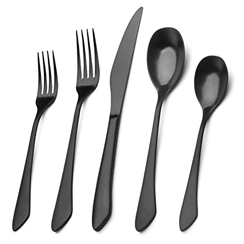Matte Black Silverware Set, 20-Piece Stainless Steel Flatware Set Service for 4, Satin Finish Tableware Cutlery Set for Home and Restaurant, Dishwasher Safe