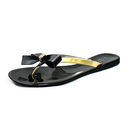 Black Jelly Sandals/Flip Flops with Diamante Bow