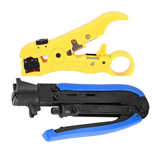 2 stks Netwerk Tang RG59 RG6 RG7 RG11 Coaxiale Connectoren Draadstripper Coaxiale Coaxiale Krimpen Set met Roterend Kompas voor Peeling Shear Draden