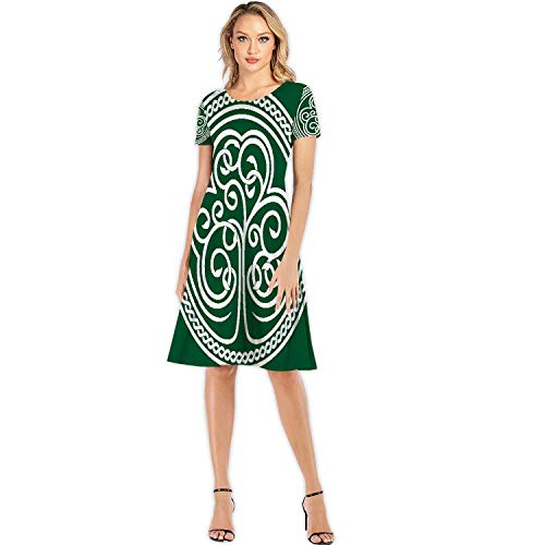 St.Patrick's Day.Stylized of a Shamrock on Dark Green - with Celtic Ornament,Fashion Women Slim Party Dres