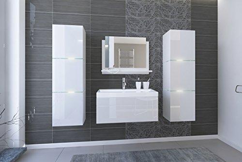 Home Direct LORENT 2, Moderne Badschränke, Badmöbel, mit Waschbecken (Weiß MAT Base/Weiß HG Front, Möbel)