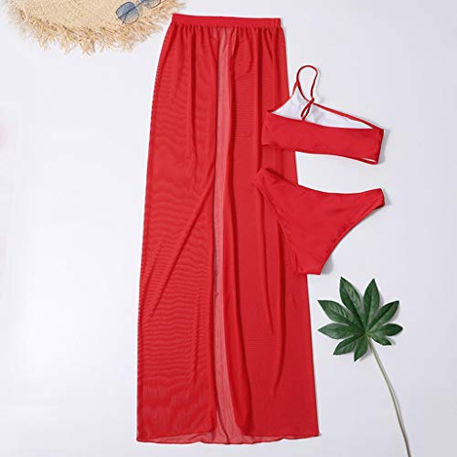 MiK Womens Sexy Summer 3 Piece Bikini Set Solid Color One Shoulder Tube Top Triangle Bottom Swimsuit with Slit Mesh Maxi Skirt Cover Up Bathing Suit Beachwear