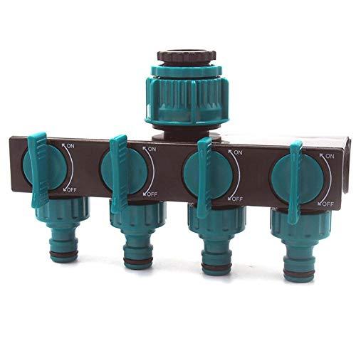 Distribuidor de agua de 4 vías de Tianfu con adaptador de grifo para riego de jardín, manguera de jardín, flujo de agua, regulador y bloqueable